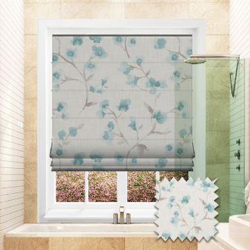Blue Roman blind in Flower Patterned Carenza Clearwater fabric